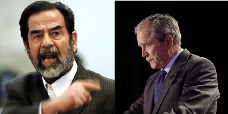 Saddam na forca, Bush na lona